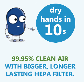 hepa filter cleans air dries hands 10 seconds